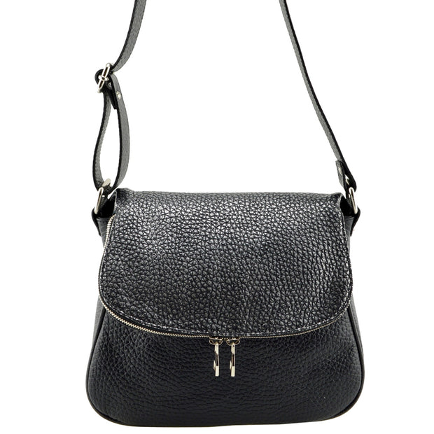 Giordano black and silver Marilyn leather cross-body bag.