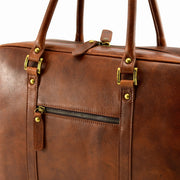 Close-up of Giordano brown Bristol briefcase / laptop bag.