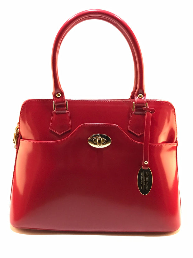 Giordano red Maria patent leather handbag.