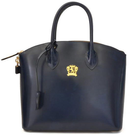 Pratesi Versilia navy blue leather hand bag.