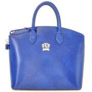 Pratesi Versilia electric blue leather hand bag.
