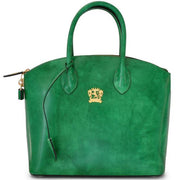 Pratesi Versilia green leather hand bag.