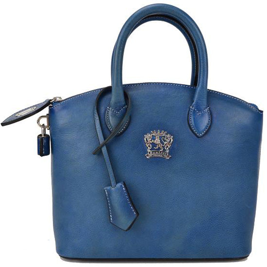 Pratesi Versilia sky blue leather hand bag.