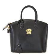 Pratesi Versilia Small black leather hand bag.
