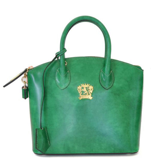 Pratesi Versilia Small emerald leather hand bag.