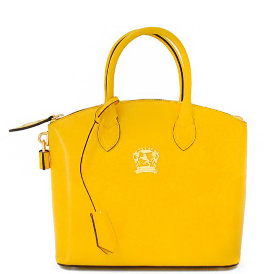 Pratesi Versilia Small yellow leather hand bag.