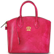 Pratesi Versilia fuchsia leather hand bag.