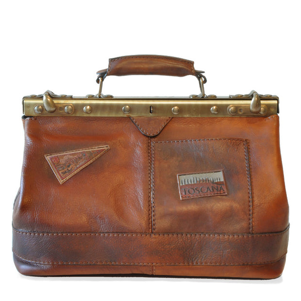 Pratesi San Casciano brown leather handbag.