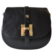 Pratesi Pelago black calf leather shoulder bag.