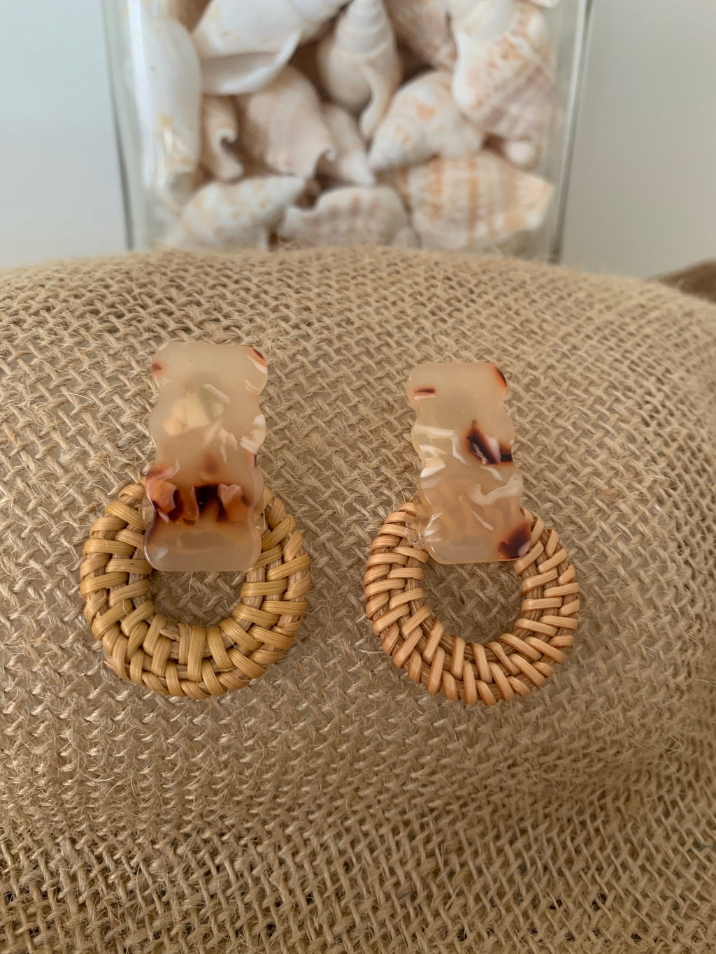 Wave Rattan Earrings
