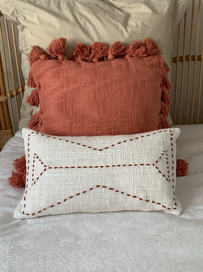 Chloe White/Rust Cushion