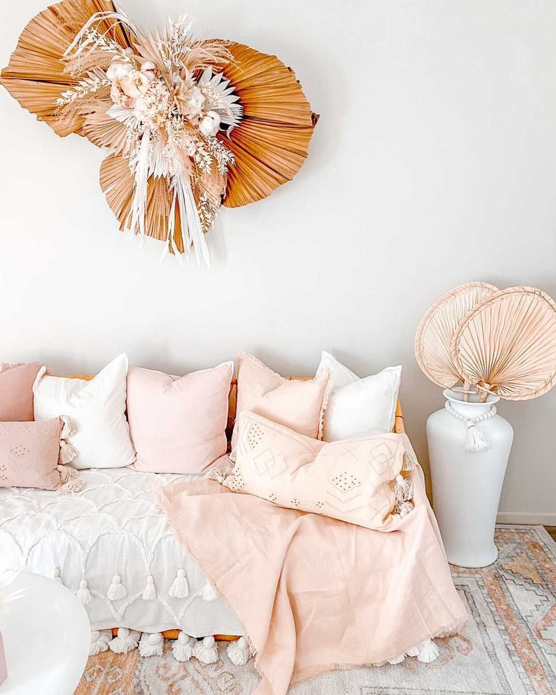 Classic Peach  Linen Throw