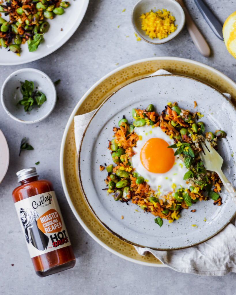 Fiery Eggs in Edamame, Parsnip and Harissa Nests