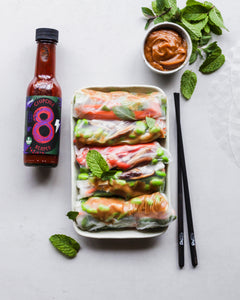 Fresh Rice Paper Rolls with Maple, Peanut & Chipotle Dipping Sauce