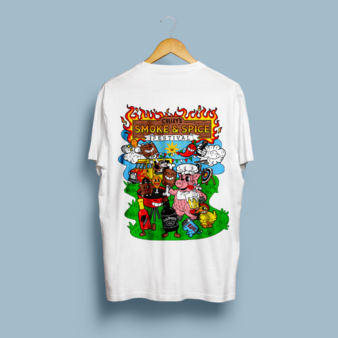 Smoke and Spice Festival T-Shirt - White with Design