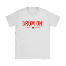 Gildan Womens Drum On! T-Shirt - Orange Design