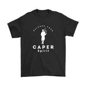 Release Your Caper Spirit T-shirt - Piper (White Design)