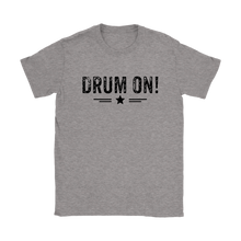 Gildan Womens Drum On! T-Shirt - Black Design