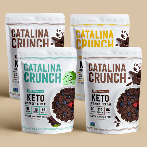 Catalina Crunch Chocolate Variety 4-Pack (2 Dark Chocolate, 1 Mint Chocolate Chip & 1 Chocolate Banana)
