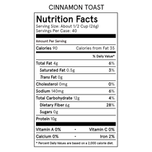 Load image into Gallery viewer, Catalina Crunch Cinnamon Toast Cereal Nutrition Table