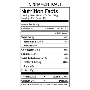Catalina Crunch Cinnamon Toast Cereal Nutrition Table