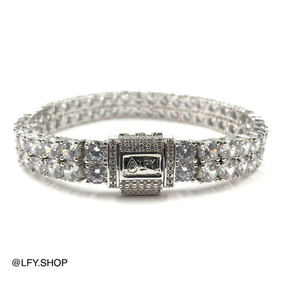 10mm ICED 2 Row Tennis Bracelet in White Gold, showing the front and back of the jewellery and the clasp, best out.
