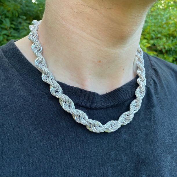 10mm ICED Rope Chain in White Gold