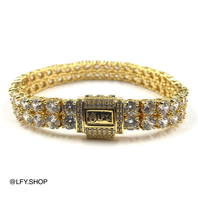 10mm ICED 2 Row Tennis Bracelet in Gold showing front and back out on white background.