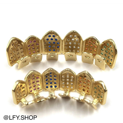 18k Gold Plated ICED Rainbow Grills, back of the grills being shown, best out