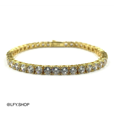 4mm ICED Tennis Bracelet in Gold showing the front and back of the jewellery, best out.
