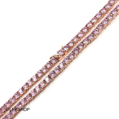 4mm ICED Tennis Chain in Rose Gold (Pink CZ), front of the jewellery being shown, best out.