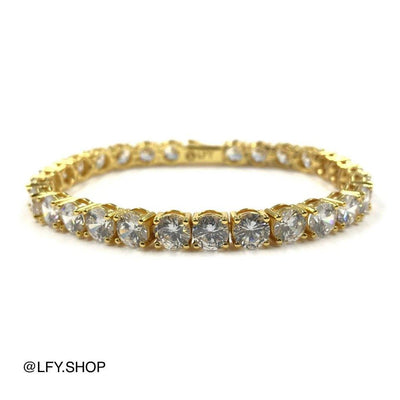 6mm ICED Tennis Bracelet in Gold, front and back of the jewellery being shown, best out.