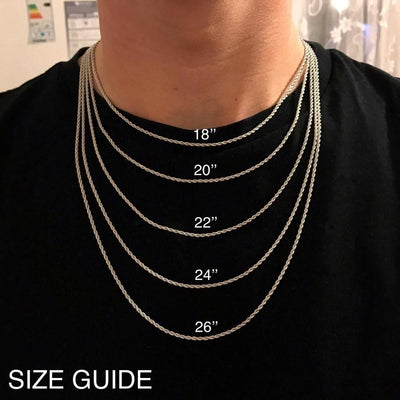 Different lengths of chain shown being worn around a man's neck for comparison