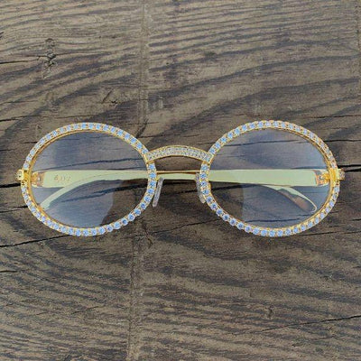 LFY ICED Baller Glasses in Gold, back of the glasses being shown, best out
