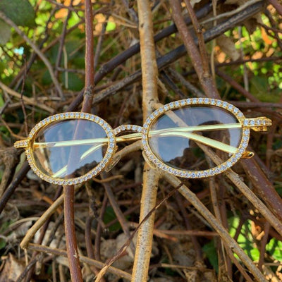 ICED Sleek Glasses in Gold shown in front of branches and leaves, best out