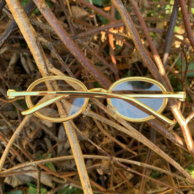 ICED Sleek Glasses in Gold, front of the glasses being shown, best out