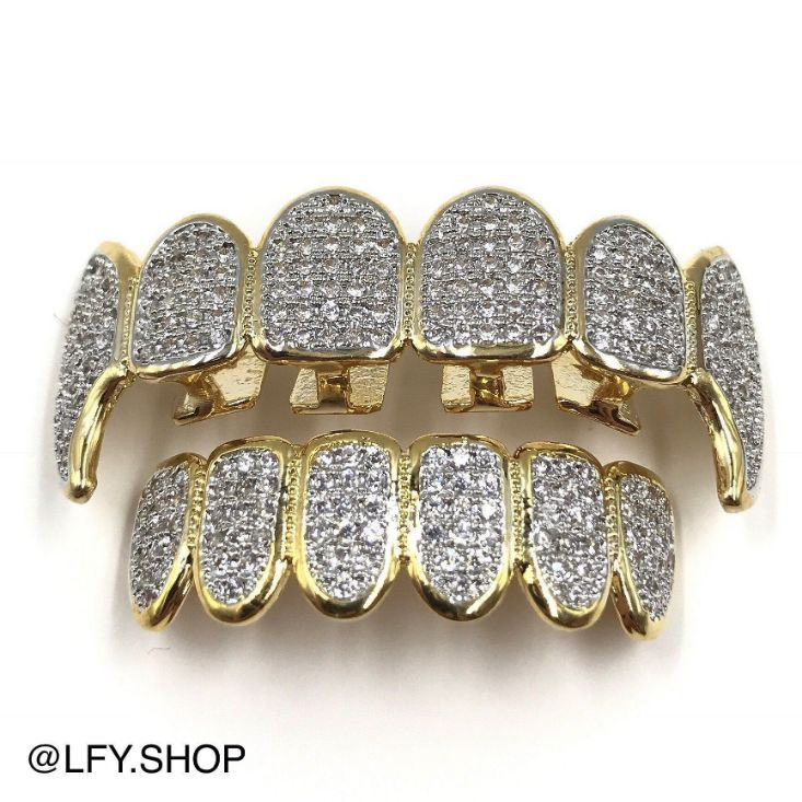 18k Gold Plated ICED Fangs Grills, front of the grills being shown, best out