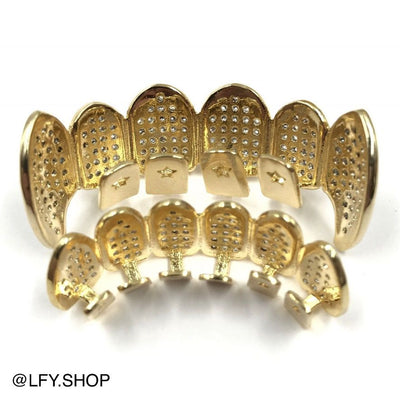 18k Gold Plated ICED Fangs Grills, back of the grills being shown, best out