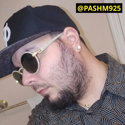 LFY ICED Baller Sunglasses in Gold (Green Tint) shown being worn by a man, best out