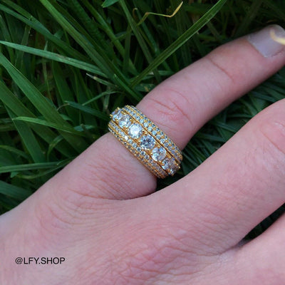 ICED 5 Layer Spinning Ring in Gold shown being worn on the pinky finger with a grass background, best out.