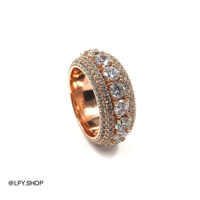 ICED 5 Layer Spinning Ring in Rose Gold showing the outside and the inside of the ring, best out.