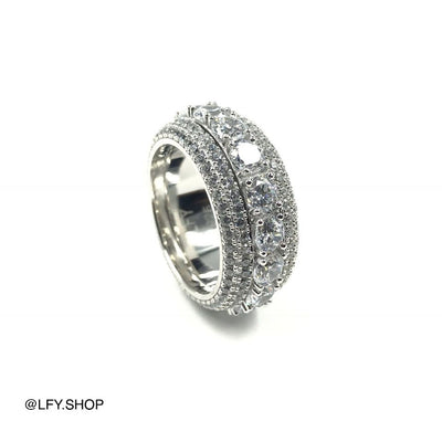 ICED 5 Layer Spinning Ring in White Gold, outside and inside of the ring being shown, best out.