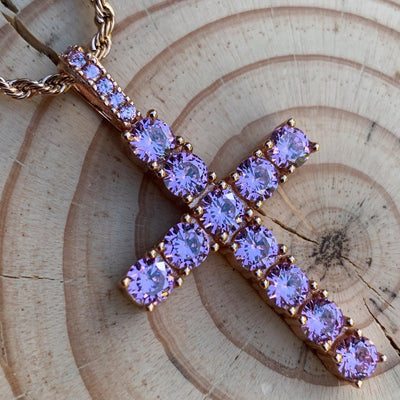 ICED Glowing Cross Pendant in Rose Gold (Pink CZ)