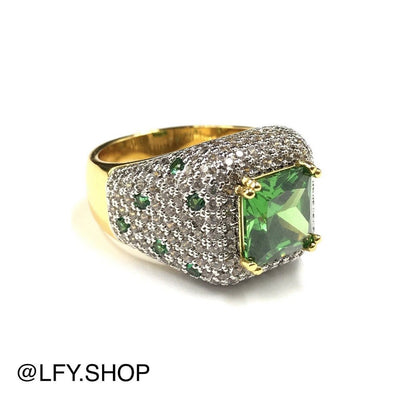 ICED Green Beast Ring in Gold, front and outside of the ring being shown, best out.