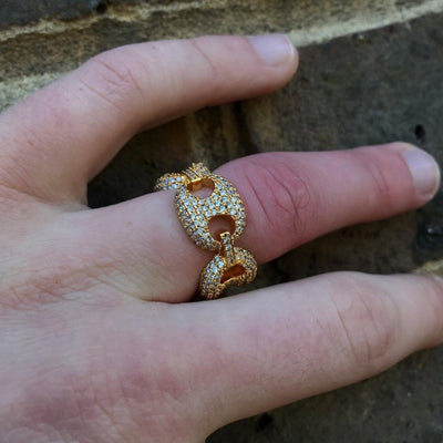 ICED Master Ring in Gold shown being worn on the third finger with a brick background, best out.