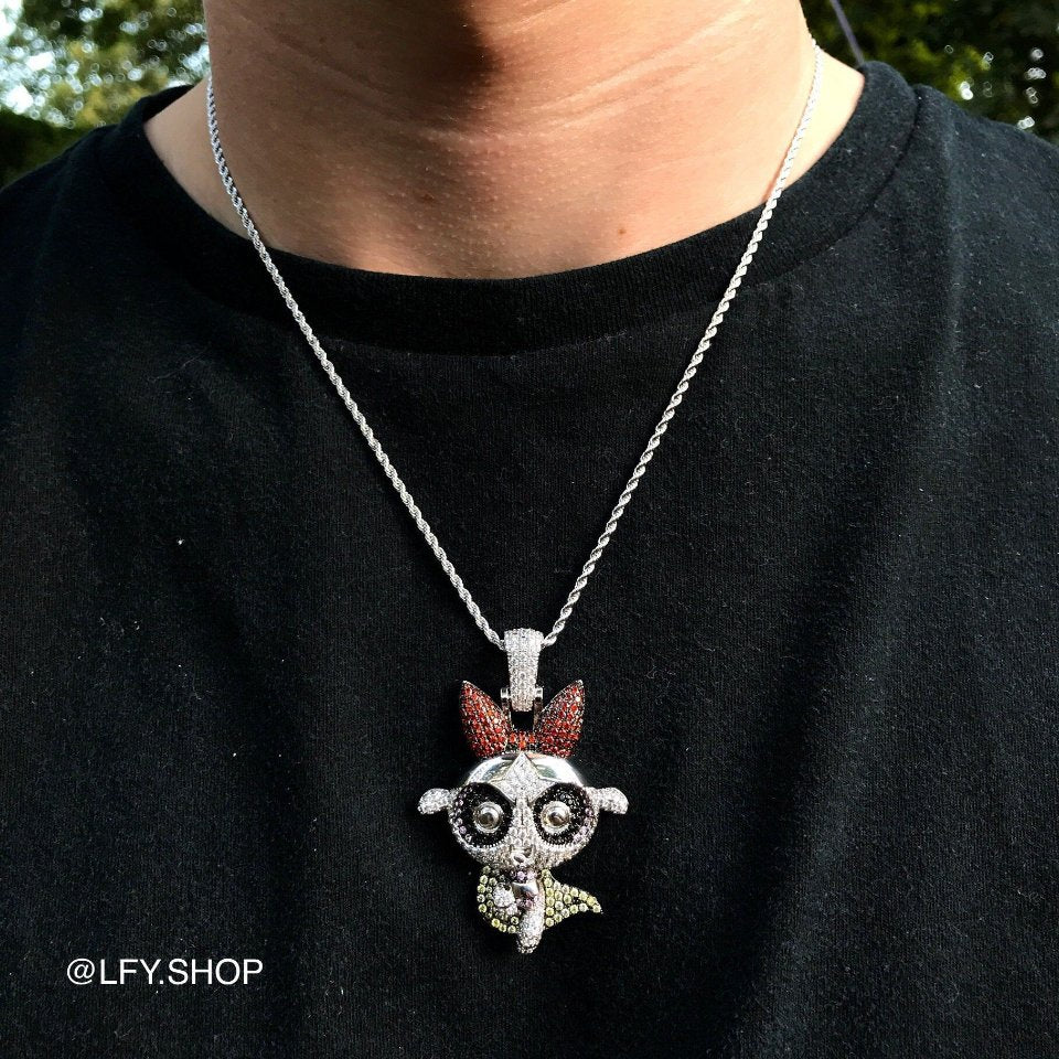 ICED Powerpuff Girl Blossom Pendant in White Gold shown being worn by a man in a black t shirt, best out