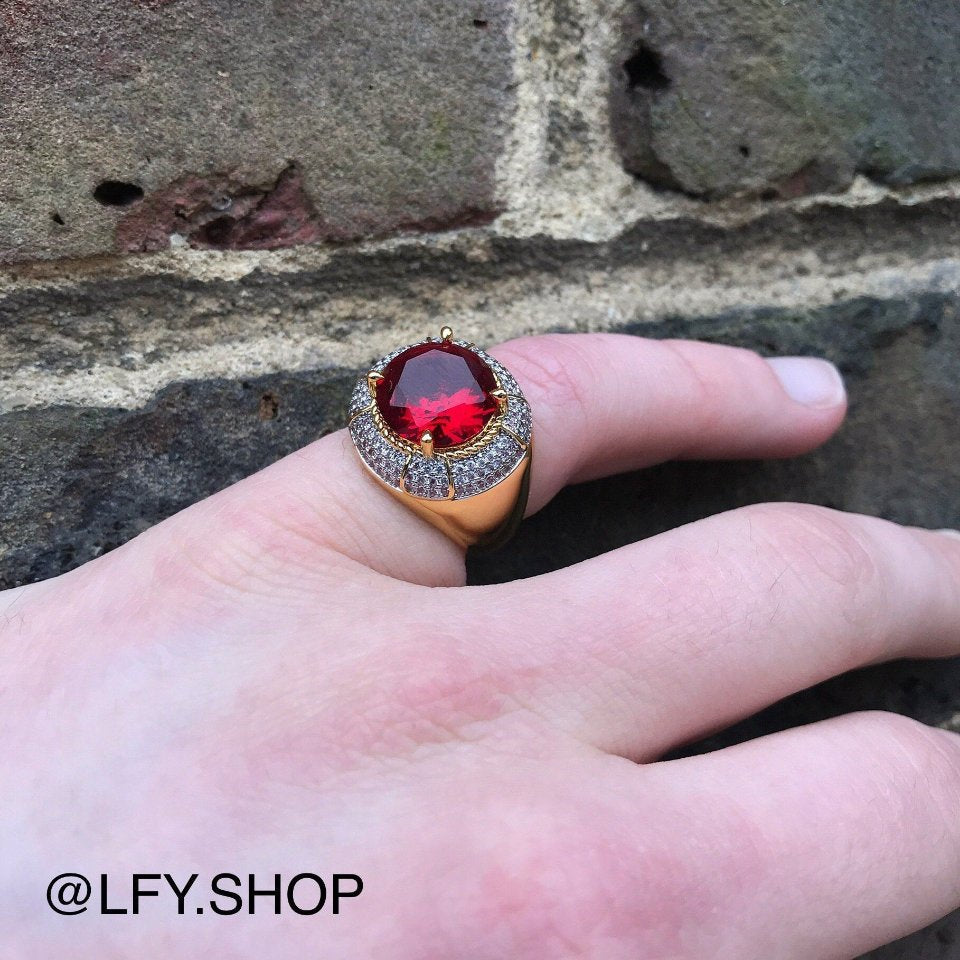 ICED Red Beast Ring in Gold