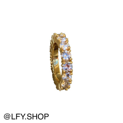 ICED Sleek Ring in Gold (4mm) front and inside of ring being shown on white background, best out.