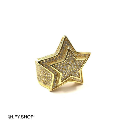 ICED Star Ring in Gold, front of the ring being shown on a white background, best out.