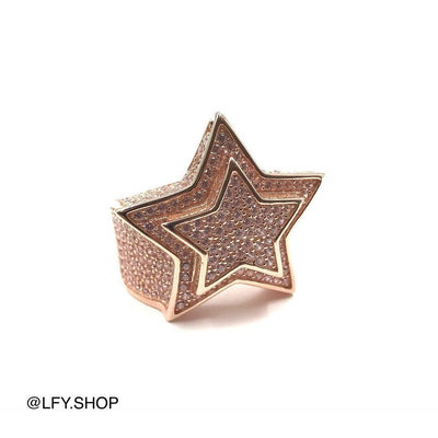 ICED Star Ring in Rose Gold, front of the ring being shown on a white background, best out.